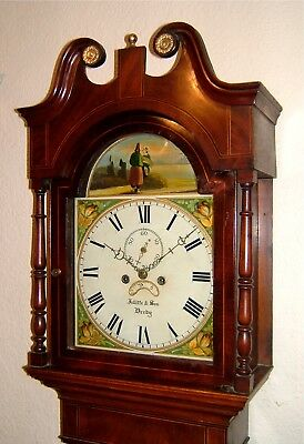 Victorian Oak, Mahogany & Inlaid Longcase Grandfather Clock C1850