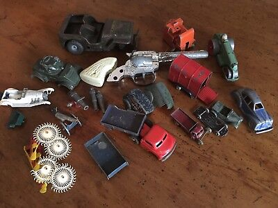 Dinky toy. Minic. Jeep. Cowboy. Scrap Items. Spares. Art Project. Collage.