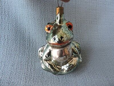 Antique German Glass Christmas Ornament FROG ** 1950's **