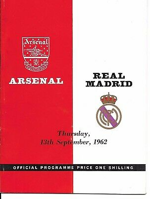 1962 Friendly Arsenal v Real Madrid Played on 13th Sept 1962