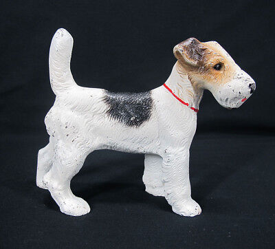 Antique Vintage Hubley Cast Iron Wire Hair Fox Terrier Dog Doorstop Bookend  yqz