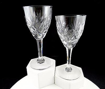 "St Louis Signed Brilliant Cut Crystal 2 Piece Chantilly Clear 7"" Burgundy Wines"
