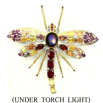 Awesome Black Opal Ruby Sapphire Tourmaline 925 Sterling Silver Dragonfly Brooch