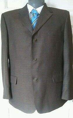 Vintage Van Heusen Choc Brown Mens Sport Jacket Polyester Wool Blend 46 Short