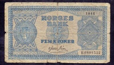 5 Kroner From Norway 1945