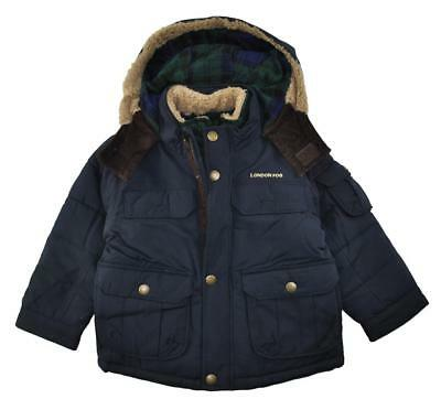 London Fog Boys Navy Heavyweight Parka Coat Size 2T 3T 4T 4 5/6 7
