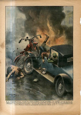 1930 Terrible clash between a motorcycle and a car in London England Antiq.Print