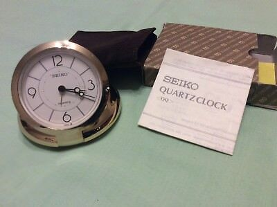 Seiko Gold Tone Travelling Alarm Clock In Pouch