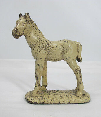 Antique LITTCO Foundry Cast Iron Foal Horse Pony Statue Bookend Doorstop NR yqz