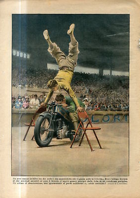 1933 Two acrobats on the Motorcycle circus trick velodrome in Paris France Print