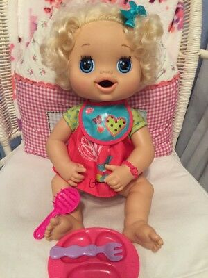 Hasbro Baby Alive Blonde Curls Talking Doll Immaculate Condition with Bib WOW!