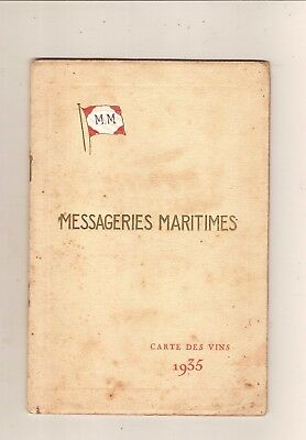 1935.Marine.Messageries Maritimes.Carte.Vins.Tabacs.Cigare.Chocolat.Champagne.