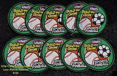 LMH Patch TEN (10)  2011 SPORTS PINBALL Baseball Soccer LOWES Build Grow LOT