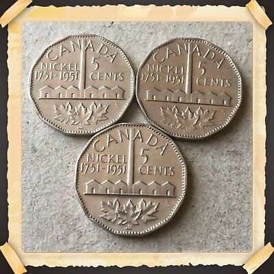 Lot Of 3 1951 Commemorative Canada five cents Canadian nickel Coins #656
