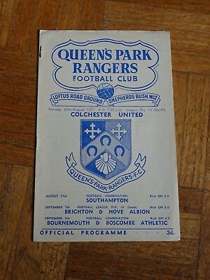 QPR v Colchester Div 3 South August 26th 1957