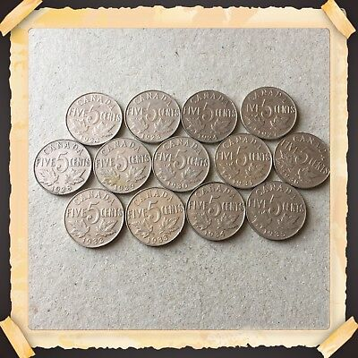 Lot Of 13 King George 1922 To 1936 Canada five cents Canadian nickels Coins #657