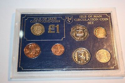 ISLE OF MAN CIRCULATION COINS MINT 1986 in case