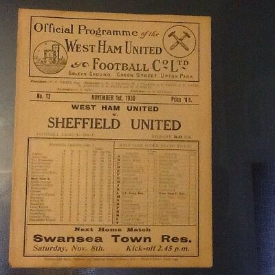 West Ham V Sheffield United 1st November 1930 1st Division Football League.