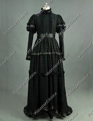 Victorian Edwardian Black Dress Witch Ghost Steampunk Halloween Costume 353 L