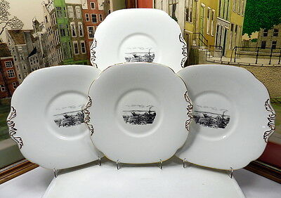 4 Collingwood Floating Bridge Seattle Collector Dessert Plates 1937-57