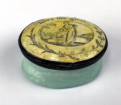 "c1790 Battersea Bilston Enamel on Copper Patch Box ""Love The Giver"""