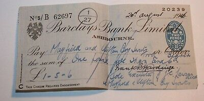 1946 Barclay Bank Cheque England Used- good condition