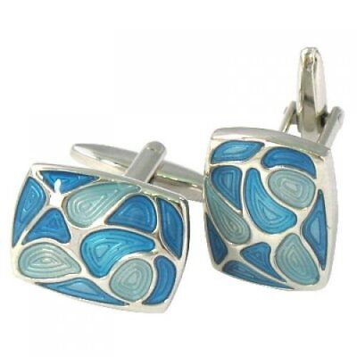 Men's Stainless Steel Cuff Links CUFFLINKS Shirt Set Rectangle Blue G8Q2 L2V4