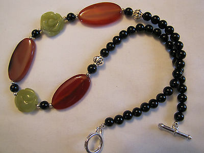 18 1/2 '' Carnelian,Olive Jade and Onyx necklace