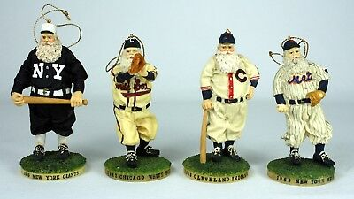 Cooperstown Baseball Santa Claus Ornaments NY Giants, Mets, White Sox, Indians