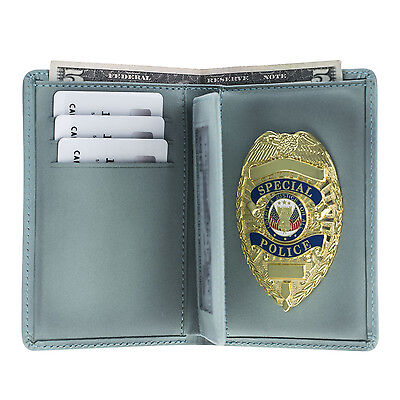 Police Badge Wallet  Universal Fit All Leather -Pin Back Badge- Vintage Turq