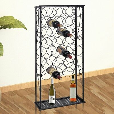 S# 28 Bottles 100cm Metal Wine Cabinet Storage Table Rack Holder Home Bar Organi