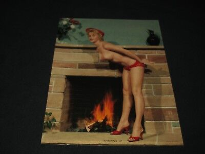 VINTAGE 1950s ERA NUDE TOPLESS BLONDE BY FIREPLACE PINUP PIN UP--WARMING UP
