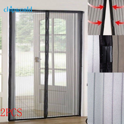 2X Hands Free Magnetic Net Mesh Screen Anti Insect Fly Bug Mosquito Door Curtain