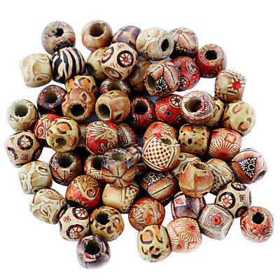 100x Wooden Boho Mixed Shape Large Hole European Beads for Crafts Jewelry Making