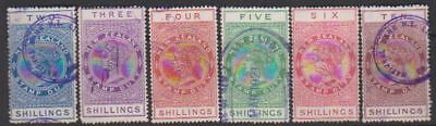 1913 New Zealand Stamp Duty 6 x high values 2/- to 10/- used