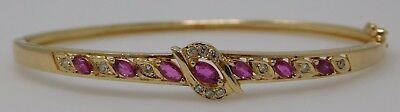 "Estate 14K Gold With Natural Ruby And Diamond Bracelet 6 1/2"" 10.6 Grams"