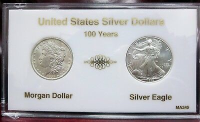 100 Years US Silver Dollars • 1899 O Morgan • 1999 Silver Eagle • CH BU