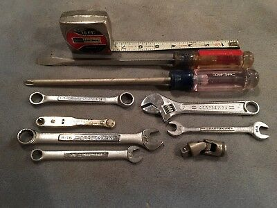 Lot Of 10 Craftsman Tools.. Wrenches, Screwdrivers, Adjustable Wrench, 16ft Tape