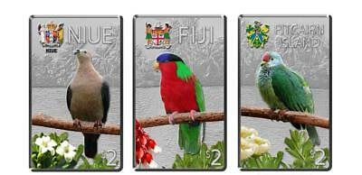 Niue Fiji Pitcairn 2013 Birds of the Pacific Islands 3x1oz Silver Proof Coin Set
