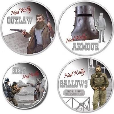 Tuvalu 2010 $1 Ned Kelly 4 x 1oz Silver Proof Coin Collection Set