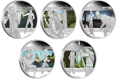 Tuvalu 2011 $1 Heroes and Villains 5x 1 Oz Silver Proof Coin Set