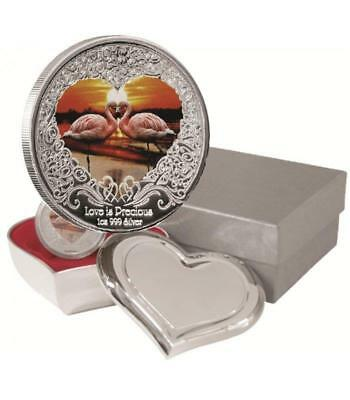 Niue 2011 2$ Love is Precious Pink Flamingo 1OZ Silver Proof Coin