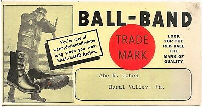 """Ball-Band"" Arctics Footwear Advertising Blotter Abe Cohen Rural Valley, PA"