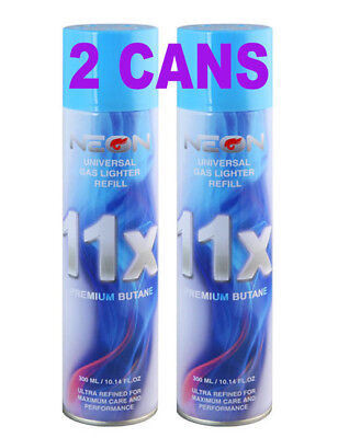 2 Can NEON 11X Filtered Butane Ultra Premium Refined Refill Lighter Can 300mL