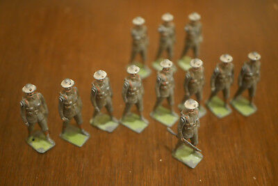 Vintage Lead Toy Marching Soldiers (World War Tommy?) 14 (Some parts Missing)