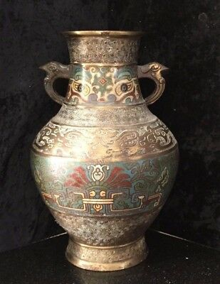 Vintage Japanese  Bronze And Champleve Vase (21)