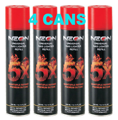 4 Cans NEON 5X Filtered Butane Ultra Premium Refined Refill Lighter Can 300mL