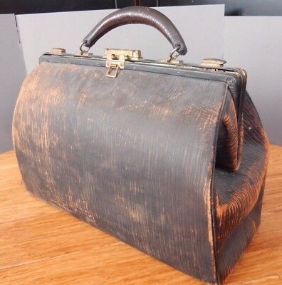 Antique Leather Doctor Bag w original key Gaber Phillips & Teitelbaum OVERNIGHTS