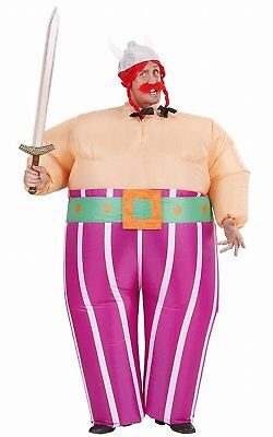 Mens Inflatable Viking Costume for Sparticus Roman Gladiator Fancy Dress