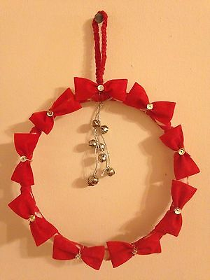 Red Wreath - Silver Bells and Bows Christmas Wreath